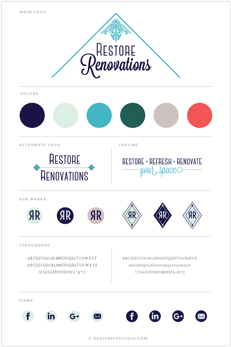 Restore Renovations brand style board